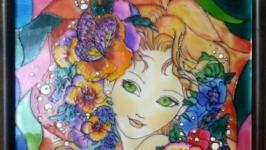 Витражная роспись ′Девушка-весна′
