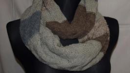 Снуд-шарф в смужку з 4 кольорів (для неї та для нього)