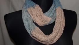 Снуд-шарф рожево-блакитну смужку 17 см * 132 см