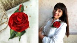 Брошка ′Троянда′ вовноваляна