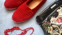 Вязаные тапочки в украинском стиле, мокасины, вязаная обувь на заказ