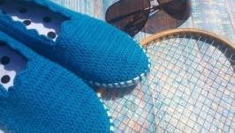 Вязаные слипоны ′Морское настроение′, мокасины, вязаная обувь на заказ