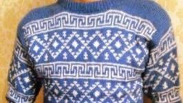 Мужской легкий свитер с жаккардовым рисунком