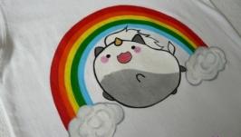 Эксклюзивная детская футболка, с ручной росписью.