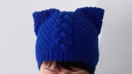 Hand Knit Handmade Hat, Kitty Hat, Pussy Hat, Women′s hat. Женская шапкa
