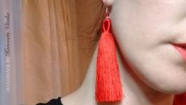 Красные шелковые сегьги-кисти