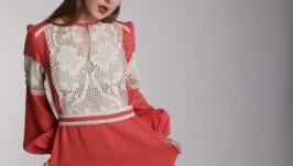 Абрикосовый цвет - Длинное льняное нарядное платье кораллового цвета