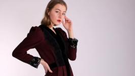′Аристократка′ цвет бордо, платье, английский стиль
