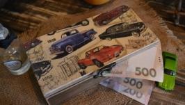 Купюрница декупаж, шкатулка для денег ′Ретро машины′