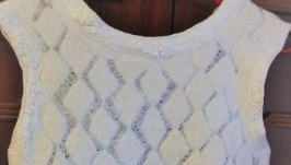 Ажурное летнее платье из мериноса и шелка