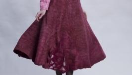 Юбка валяная ′Марсала′ длинная широкая из шерсти и шелк