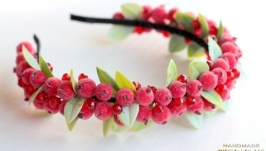 Ободок для волос с ягодами красными