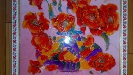 Вітражний розпис по склу, картина ′Маки′.