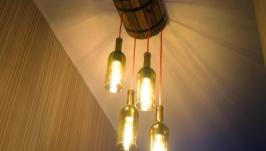Лампа потолочная в виде бочки и винных бутылок ′В гостях у Бахуса′