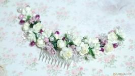 Веточка (гребень) в прическу с цветами и бусинками