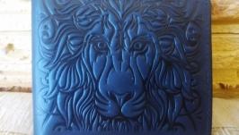 Портмоне без кнопки синий лев