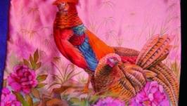 сарафан ′Фазаны′ ручная роспись,батик
