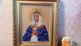 Икона Св.Ольги. 11 цветов чешского бисера.