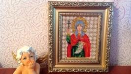 Икона Св.Светланы (Фотина). 14 цветов чешского бисера.