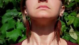Длинные серьги-кисточки из натуральной кожи