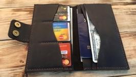 Большой кожаный портмоне - кошелек для путешествий