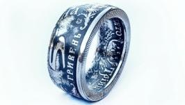 """Кольцо из настоящей монеты 5 гривен """"СВЯТО ТРІЙЦІ"""""""
