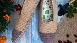 Вязаные тапочки ′Отдых за городом′, мокасины, летняя обувь.