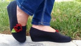 Вязаная обувь ′Маковые грезы′, обувь на танкетке, летняя обувь
