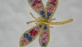 Брошь - Стрекоза микро-вышивка патч, для декора