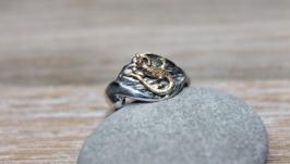 Кольцо Ящерка на листике