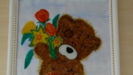 Картина ′Тедді з квітами′ (вітражні фарби на склі)