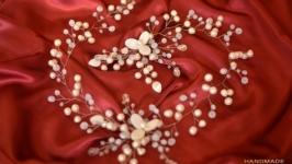 Свадебный ободок, веточка из перламутра и жемчуга ′Подснежники′