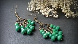 Зеленые бронзовые серьги У истоков Амазонки