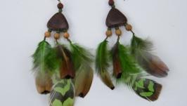 Серьги с перьями В джунглях.