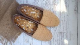 Вязаные слипоны, мокасины, летняя обувь, вязаная обувь на заказ