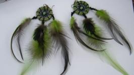 Серьги-ловцы Изумрудная птица