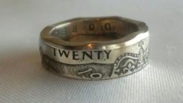 Кольцо из монеты 20 пенсов Великобритания