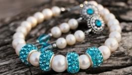 Браслет з натуральних перлів з блакитними кристалами