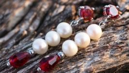 Сережки натуральні перли та кристали