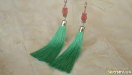 Зеленые серьги - кисти ′Тюльпан′
