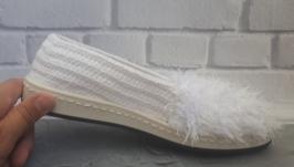 Вязаные слипоны ′Какигори′, тапочки, летняя обувь, вязаная обувь на заказ