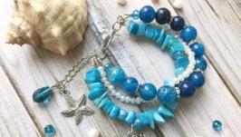 Яркий синий голубой летний красивый браслет с натуральным камнем