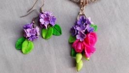 Цветочный комплект кулон и серьги