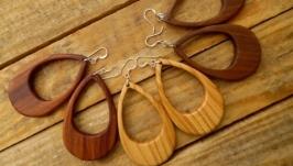 Деревянные сережки  в этно стиле