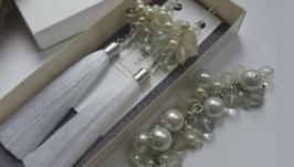 Белый свадебный летний набор украшений жемчуг KATHERINE от LILEI JEWELRY