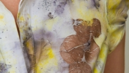 Блуза женская из хлопка с эко принтом. Эко стиль, экомода. Белый.