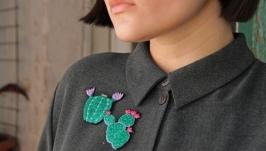 Набор из двух брошей - кактусов  суккуленты  вышивка