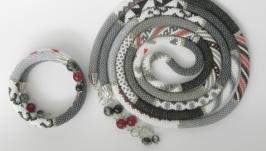 Комплект Лариат и браслет ′Монохром′ с кистями с натуральными камнями