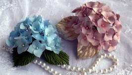 Брошь-цветок гортензий