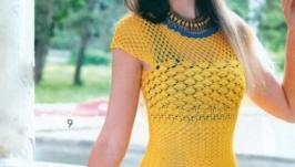 Желтое, солнечное платье с ажурным узором
